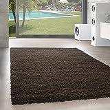 Shaggy Hochflor Langflor Teppich Wohnzimmer Carpet UNI Farben, Rechteck, Rund,. , Größe:80x150 cm, Farbe:Braun