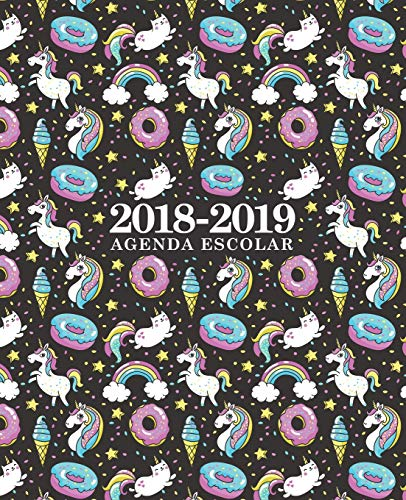Agenda escolar 2018-2019: 190 x 235 mm: Agenda 2018-2019 semana vista español: 160 g/m²: Agenda semanal 12 meses: Unicornios, gatos, donas y helados