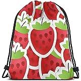 huatongxin Unisex Bolsa de Hombro,Drawstring Backpack,Tote School Rucksack,Bolsa de Gimnasio Ligera,Red Strawberry Gym Sack B
