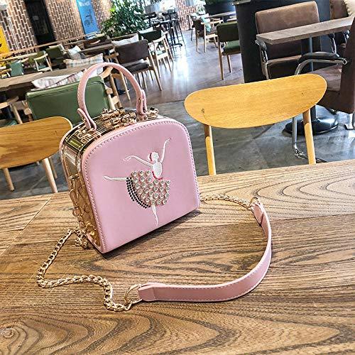 YZJLQML Lady bagsWild Umhängetasche Mädchen geschlungene Handtasche kleine quadratische Tasche @pink