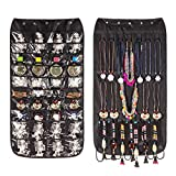 (Black) - Jewellery Organiser Hanging Bag 40 Pockets & 20 Hook-and-loop Tabs Earrings Necklace Bracelet Holder Dual Sided Space-Saving Household Closet Accessory Storage Bag with Hanger (Black)