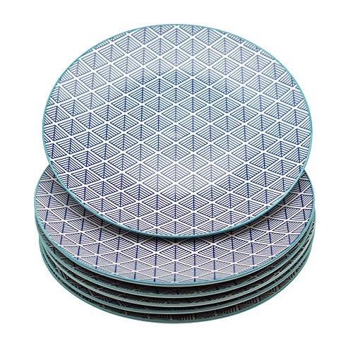 Grandes assiettes - motif géométrique - 265 mm - bleu - lot de 6