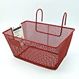 Land-Haus-Shop Kinderfahrradkorb Metall, beschichtet, Kinder Fahrrad Lenker Einkaufs Korb (Rot)