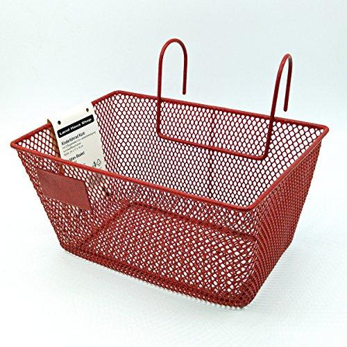 Land-Haus-Shop® Kinderfahrradkorb Metall, beschichtet, Kinder Fahrrad Lenker Einkaufs Korb (Rot)
