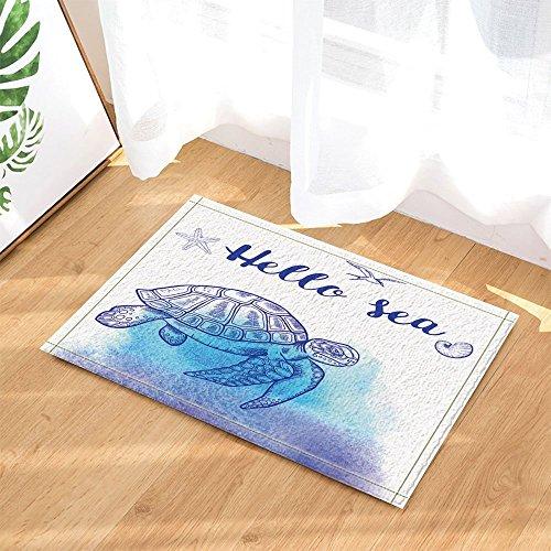 cdhbh Nautisches Watercolor Ocean Tiere Decor Unterwasser Tauchen Meer Schildkröte mit Shell Bad Teppiche rutschhemmend Boden Eingänge Innen vorne Fußmatte Kinder Badematte 39,9x 59,9cm Badezimmer Zubehör