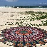 Dermier indischen Pfau Mandala rund Roundie Beach Überwurf Tapisserie Hippie Boho Gypsy Chiffon Strandtuch Tischdecke