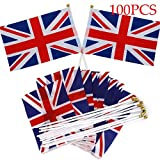 100PCS Great Britain Flags Union Jack 8 Hand Waving Flag GB Flags Clothes Royal Jubilee 21*14CM