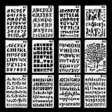 TADAE 12 Pack Kunststoff Buchstaben Nummer Alphabet Kugel Journal Schablone Vorlage, perfekt für Planer/Notebook / Tagebuch/Scrapbook / Graffiti/Karte, DIY Zeichnung Malerei Handwerk Projekte