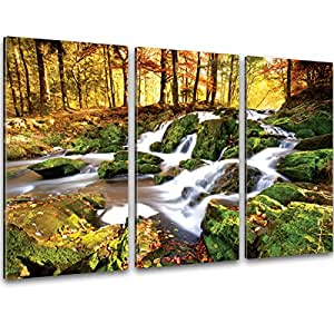 xxl kunstdrucke wasserfall fluss im wald wand bilder auf leinwand 120 x 80cm 3 teile fertige. Black Bedroom Furniture Sets. Home Design Ideas