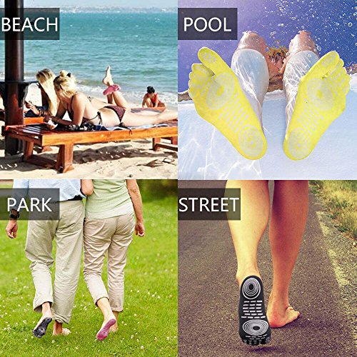 Calzini a piedi nudi per l'esercizio di piscine per piscina, pattino d'acqua, calzini antisdrucciolevoli di yoga, piedino adesivo adesivo per le donne, protezione elastica dei piedini flessibili Rosa rossa (1 paio)