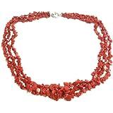 Collana 3 fili con scaglie in corallo rosso naturale mediterraneo a scalare, pescato e lavorato in maniera sostenibile - chiu