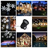 LED Landscape Projector lights,Waterproof Moving White Snowflake Spotlight Projector Stage Light with for Indoor Outdoor Christmas Garden Patio Home Wall Wedding Party Decor(White Snowflake)