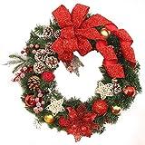 Huhu833 Weihnachten Dekorationen Weihnachten große Kranz Tür Wand Ornament Girlande Dekoration rot Bowknot 40CM (B)
