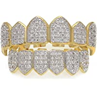 MCSAYS Teeth Grill Hiphop Custom Fit Set(Top&Bottom) Full Crystal CZ Iced Out Gold/Sliver Color Tooth Grills Cap For Men/Women Gifts (Gold)