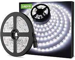 LE Ruban LED 5m, Bande LED Autocollant 300 LEDs SMD 2835 Lumière Blanche 6000K, Bandeau LED 18W 1200lm pour Chambre, Mariage,