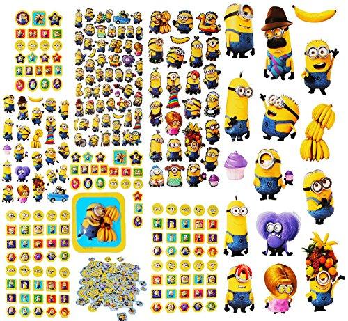 (alles-meine.de GmbH 3 * 500 TLG. XXL Set: Sticker & Malblock -  Minions - Ich einfach unverbesserlich  - 3-D Aufkleber & Normale - groß - Minion / Mark Dave Stuart Bob Kevin - ..)
