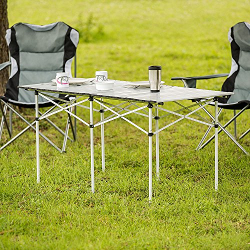 TecTake XXL ALUMINIUM FOLDING PORTABLE CAMPING TABLE ROLL TOP 140x70x70cm  WITH TRANSPORT BAG