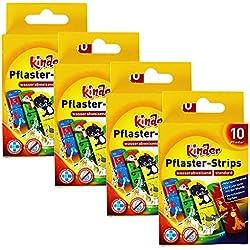 COM-FOUR® 40x Patchs colorés pour enfants avec motifs animaliers - déperlants, respectueux de la peau, testés cliniquement (40 pièces - Zoo)