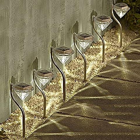 Solalite - Juego de luces solares de jardín (6 unidades, de acero inoxidable, con forma de