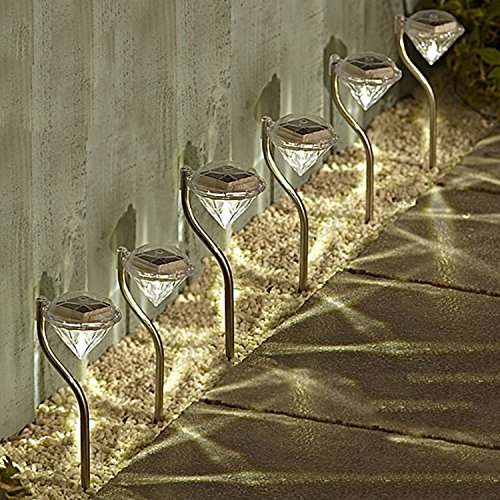 Solalite 6 Pack Stainless Steel Solar Powered Diamond Stake Lights Garden Border Lanterns