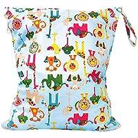 Bebé reutilizable paño impermeable bolsa de pañales doble cremallera patrón de fútbol