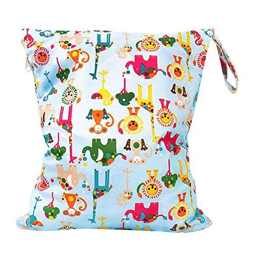 Tier-design Snap (Baby Wasserdichtem Reißverschluss Wiederverwendbare Stoff Wickeltasche Snap Tote Bunte Tiere Muster)