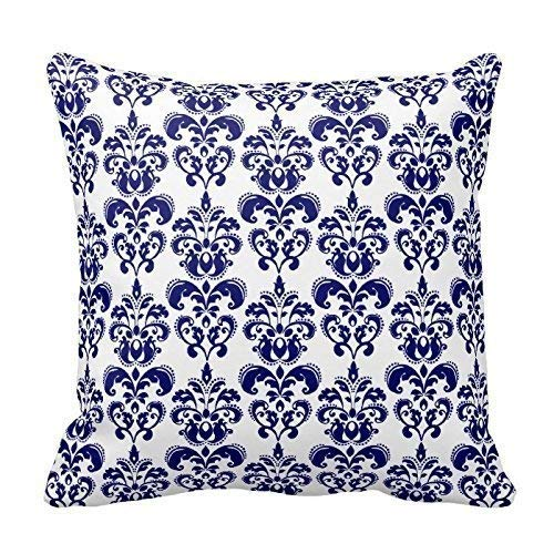 Klotr federe cuscino divano, navy blue white flower throw pillow case covers floral pattern home sofa decorativetwo sides