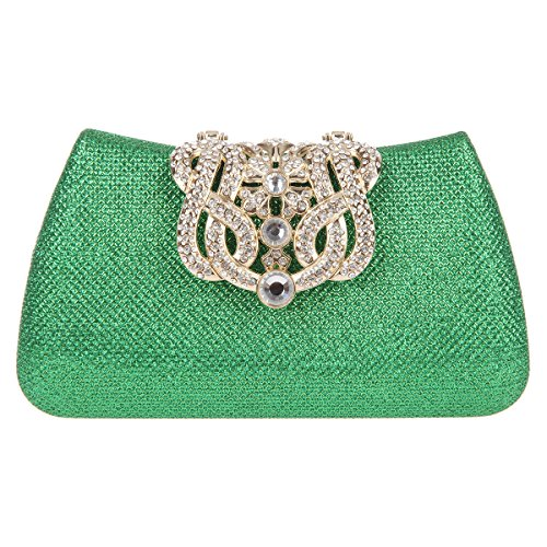 Bonjanvye Bling Crown Glitter Purse for Girls Evening Clutch Bags Blue Green