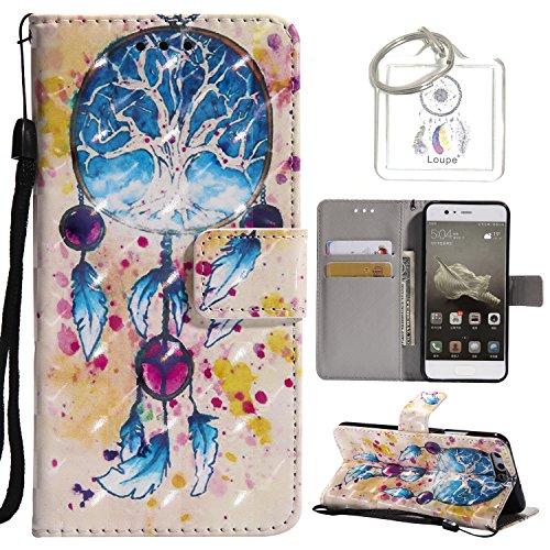 Preisvergleich Produktbild für Huawei P10 5,1 Zoll Hülle, Retro 3D Muster PU Leder Hülle Wallet Case Folio Schutzhülle in mit Standfunktion Karteneinschub und Etui Flip Case Schutzhüllen +Schlüsselanhänger (P) (6)