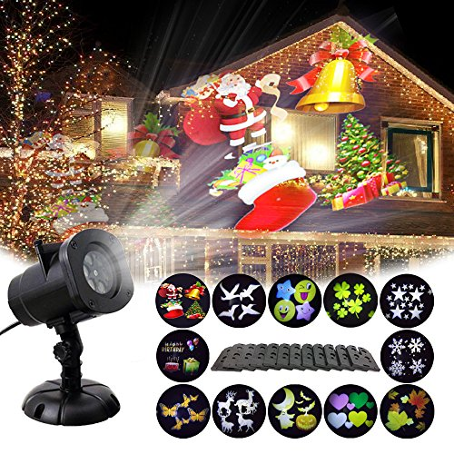 eihnachtsbeleuchtung Aussen Taschenlampe Scheinwerfer 12 Schaltbares Nachtlicht Weihnachtsdeko für Halloween Valentinstag Geburtstag Party (B) (Halloween B)