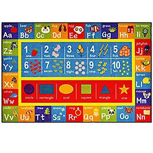 Kinder-fun-teppich (FLOWood Kinder Teppich Baby Spielteppich Lernteppich mit ABC Zahlen und Formen für Kinderzimmer und Spielzimmer Teppich für Kinder (100 x 150 cm))