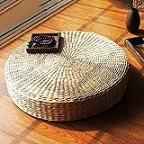 LJ&XJ Handmade Paille tressée Coussin, Épais Anti-dérapant Coussin de siège, Lisses Futon, Sol Tatami Méditation Prière Yoga Plein air, 20cm d'épaisseur-A diamètre50cm(20inch)