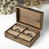 AWEI Holz Hochzeit Ring Box, rustikal Ring Box Valentine s Day Geschenk-Box 5.9 x 3.9 x 2.17