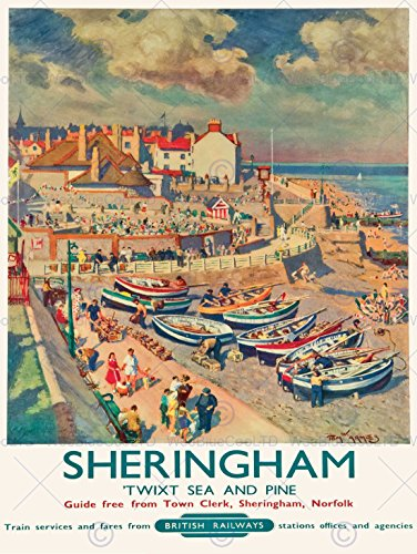 travel-sheringham-british-railways-seaside-boats-tourists-village-sand-sun-30x40-cms-fine-art-print-