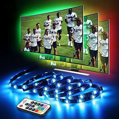 LED TV Hintergrundbeleuchtung, infinitoo LED Strip 4*50CM Set, Usb LED Streifen 5050 RGB mit Fernbedienung, LED TV Beleuchtung für 40-60 Zoll TV, Fernseher, PC-Monitor, Desktop, Tische