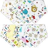 Txian, bandana bavaglino morbido in cotone, unisex, asciugamano con bottoncini automatici, bavetta per dentizione, per bimbi e neonati, 10 pezzi