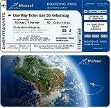 Einladungskarten zum Geburtstag als Flugticket, Abriss-Coupon Blau 20 Stück