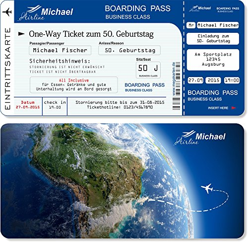 Einladungskarten zum Geburtstag als Flugticket , Abriss-Coupon Blau 40 Stück