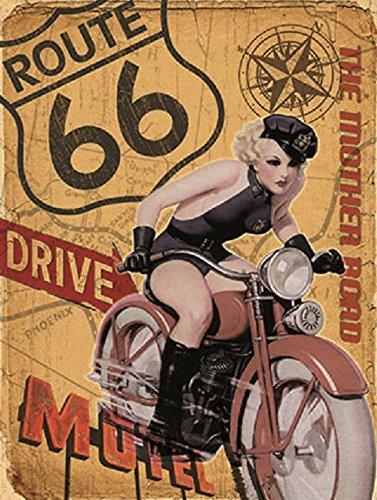 OMS Retro Metall Schild, American Route 66Frau Motorrad Picture Art Geschenk