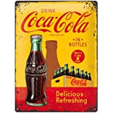 Nostalgic-Art Coca Cola In Bottles Yellow Placa Decorativa, Metal, Amarillo y Rojo, 30 x 40 cm
