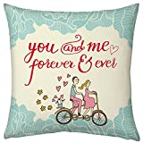indibni 12X12 Pillow with Filler Insert White You & Me Forever Cycling Couple Gift