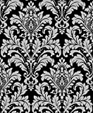 Vinyltapete Tapete Barock Retro # schwarz/silber # Fujia Decoration # 2073