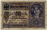 Banknoten Darlehenskassenschein (Nota de préstamo hipotecario) 5 Mark, Imperio alemán, 1917, No. E.18108153