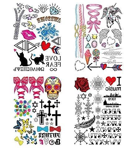 COKOHAPPY Mignonne Temporaire Tatouage 4 Différent Feuilles Rose Lèvre Coeur Fleur Love Amour Aile Crâne Cross Croix Papillon Plume