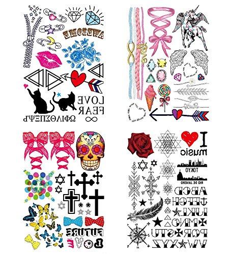 COKOHAPPY Niedlich Temporäre Tattoo 4 Verschiedene Blätter Rose Lippe Herz Blume Liebe Flügel Engelsflügel Schädel Kreuz Schmetterling Feder Stern