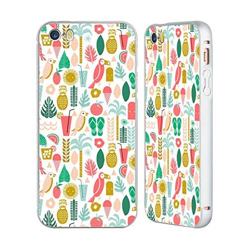 Ufficiale Charlotte Winter Isola Pattern Tropicali Argento Cover Contorno con Bumper in Alluminio per Apple iPhone 5 / 5s / SE Isola