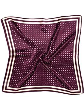 Bees Knees Fashion - Bufanda - Burgundy Cream Spot Impreso Grueso Pequeño Pañuelo Cuadrado De Seda
