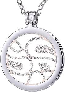 Morella Collana Donna in Acciaio Inox con Coins Moneta amuleto Ciondolo Rotondo 33 mm in in Sacchetto di Velluto
