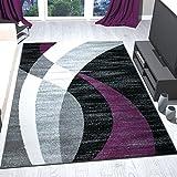 Teppich Modern Design Schwarz Grau Weiß Lila Kurzflor Geschwungene Streifen Pflegeleicht Top Qualität 120x170 cm