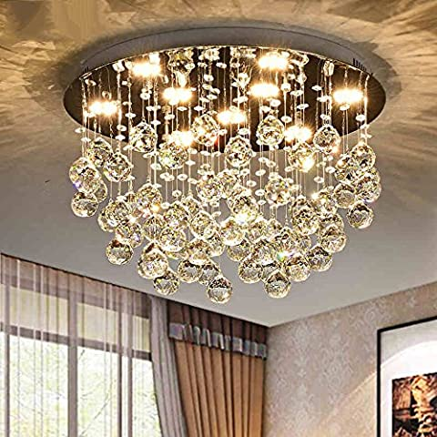LED plafonnier Flush Mount LED Crystal Ceiling Pendant Lights Caractéristiques modernes / contemporaines pour Crystal Metal prix raisonnable ( Couleur : Three-color dimming--50cm27W )